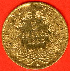 France - 5 Francs 1863 A (Paris) - Napoleon III - Gold