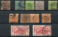 Denmark 1851/1919 -  A small Selection, Yvert 2, 3, 5, 6, 9, 4, 8 (3x), 68, 84