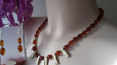 Natural Baltic amber necklace & earrings set - necklace with freshwater Keshi pearl beads