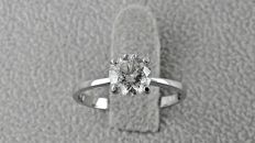 1.01 ct round diamond ring made of 14 kt white gold *** NO RESERVE PRICE ***