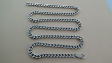 925 silver necklace with flat gourmet links - 64.5 cm - 53.65 grams