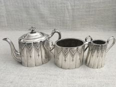 Ornate Antique highly decorated  three piece silver plated tea set . ENGLAND  . Second  half of 18th century . PAT, NUMBER 19759