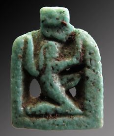 Egyptian faience amulet of Shu - 18 mm