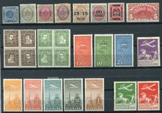 Denmark 1854 - Selection with some airmail, Yvert 3, 22, 25, 28, 42, 84, 85, 86, 161/64, 153/57, 190/92 Yvert (PA) 1/3, 6/10