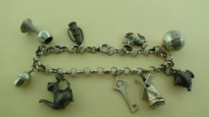825 Silver Charm Bracelet with 9 charms - length 19.5 cm - 29.06 grams