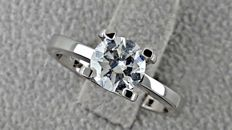 1.03 ct D/VS2 round diamond ring made of 18 kt white gold - size 6,5