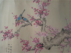 A Hand-painted water-ink painting 《费丹旭-喜上梅梢》镜心- China - late 20th century