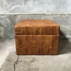 Manufacturer unknown - vintage, cognac leather, designer ottoman with storage compartment