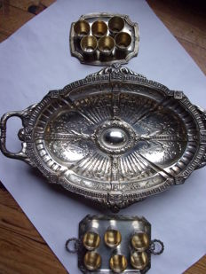 Large table centrepiece/serving dish on four feet, with trays of liqueur glasses, France - 19th century -