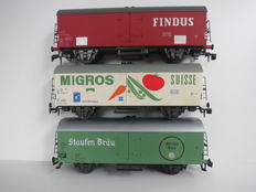 Spoor 0 - Rivarossi - 7574/7567/7568 - 3 closed freight wagons