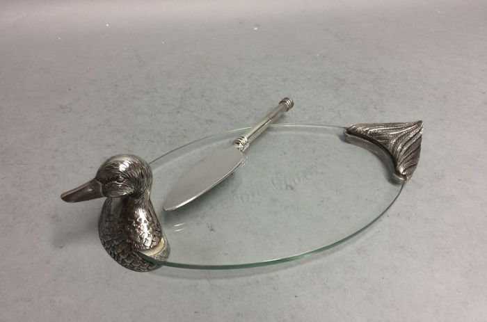 Silver plated dish to present Foie Gras, France, mid 20th century