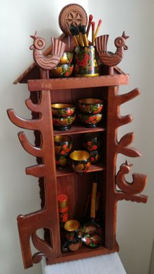 Russian vintage kitchen cupboard with 26 hand-painted attributes in gold leaf
