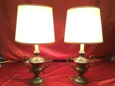 A pair of altar vessels modified as table lamps - Italy - early 20th century