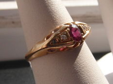 18ct gold ruby and diamond ring -  ring size M / 6 / 52