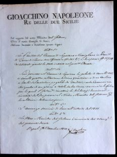 Original decree with signature of Joachim Murat, King of the two Sicilies - 1810