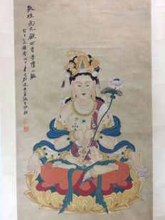 Hand-painted scroll paintings of avalokitesvara - China - late 20th century