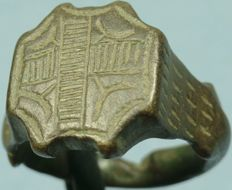 Byzantine bronze ring,decorated bezel  with hatched cross-  ** Very rare design**-  - - Inner Diameter:18 mm