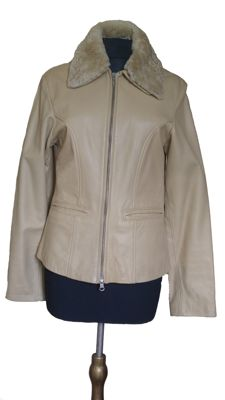 Beige leather women's bomber jacket with removable fur collar - new