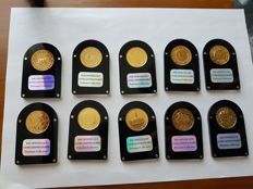 Europe - 2 euros 2007/2011 gold-plated in 24 kt, various countries (10 pieces)