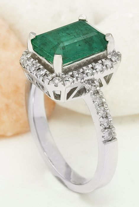 3 61 carat emerald 14k solid white gold ring
