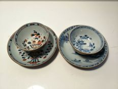 Pair of cups and saucers with flower and landscape decoration - China - circa 1750 (Qianlong period)