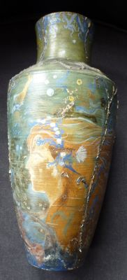 Edmond Van Offel (1871-1959) - Stoneware ornamental vase with hand-painted decoration of  mermaids