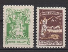 The Netherlands 1916 - Internment stamps - NVPH IN1/IN2 with certificate