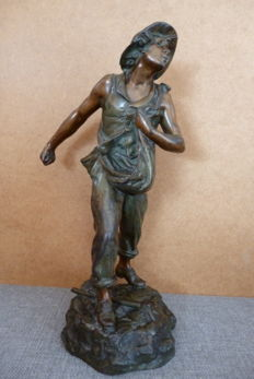 Alfred Jean Foretay (1861-1944) - statue of a young sower in patinated spelter/régule - ca. 1900