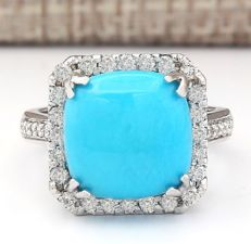 6.70 Carat Turquoise And Diamond Ring In 14K Solid White Gold Ring Size: 7 *** Free shipping *** No reserve *** Free resizing ***