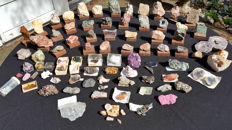 Collection of large rough mounted minerals and gems - 7.8 kg (85 +)