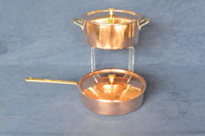 Two Swiss Culinox copper pans from the company Spring.