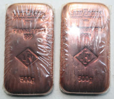 1 kg - 2 x 500 g copper bars - LEV bars - cast bars