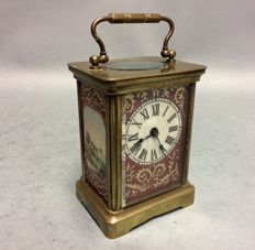 Antique brass carriage clock with Sèvre porcerlain - Period 1880/1890