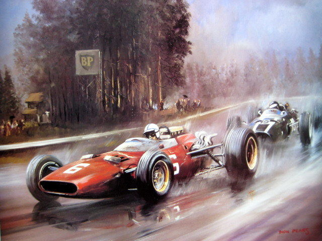 Decoratief object - Surtees/Ferrari (Signed) - Rindt/Cooper - Spa - 1966 (1 items)