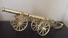 Two field canons in bronze (brass) gribeauval artillery gun nice finish - France - early 20th century
