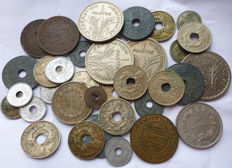 French Indochina - Lot of 35 coins from 19th to 20th century.