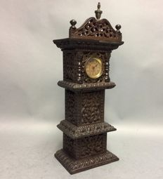 Miniature grandfather clock in cutaway case - France - around 1900