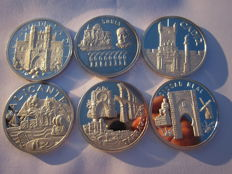 Spain - Autonomic medals of Spain - lot of 6 medals - 999/1,000 silver