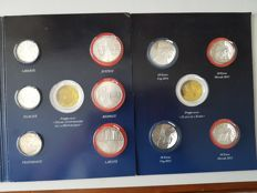 France - 5 Euro 2013, 10 Euro 2012/2014 + 25 Euro 2013 (10 pieces in total) - argent