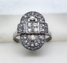 Art Deco ring, diamonds, circa 1930, total approx. 0.50 ct diamonds.