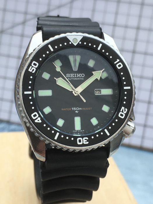seiko midsize diver cal 4205a men s wristwatch 1980 s used