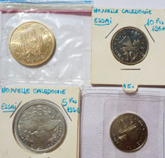 New Caledonia – 5 Francs to 100 Francs 1953-1976 Trial (lot of 4 coins).