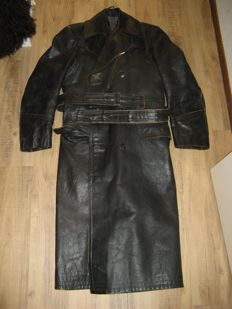 Black long leather coat for a classic moped or motorbike 1950s / 1960s