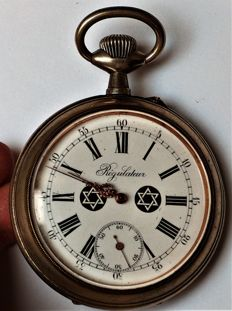 Marrige  Pocket  Watch -  Regulateur  from 1913  very RARE - dial of 2 stars of David- Switzerland
