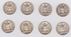 Italy, Kingdom - Lots of 8 coins silver coins 1926/1930