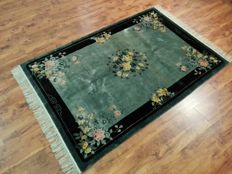 Original & Beautiful Chinese rug 100% pure silk on silk finely hand knotted  200x120 cm TOP Condition & Quality