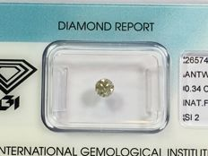 Brilliant cut diamond 0.34ct. Natural FANCY LIGHT GREYISH YELLOW SI2 with IGI certificate