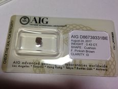 0.43 ct square-cut corners modified round brilliant diamond - Fancy pink-brown I3 - Sealed by AIG no reserve price.