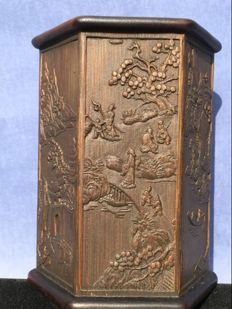 A bamboo pencil cup (Biton) with landscape decoration - China - 2nd half 20th century