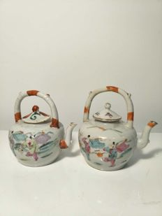 Famille rose teapots with child decoration - China - circa 1900